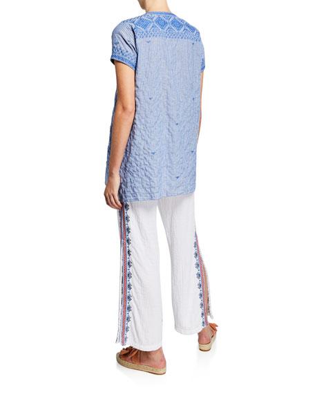 Johnny Was Azure Lanai Stripe Short-Sleeve Draped Boho Top w/ Embroidery