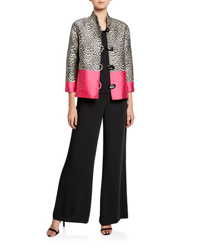 Pink Panther Button-Front Jacquard Boxy Jacket and Matching Items