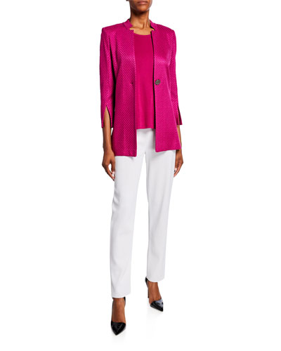 Textured 3/4-Sleeve One-Button Long Jacket and Matching Items