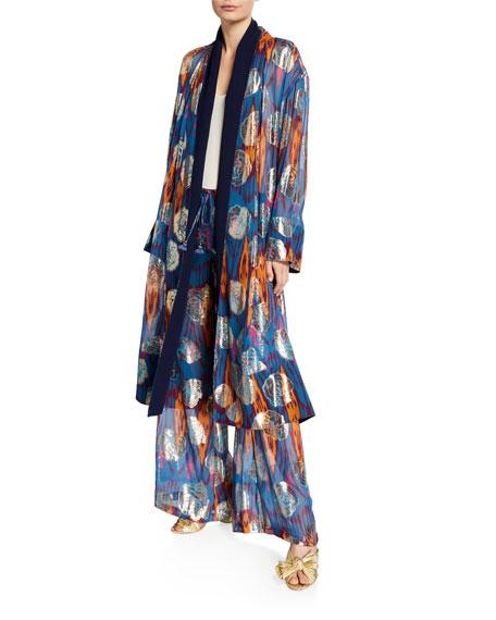 Figue Kali Ikat Metallic Kimono Robe
