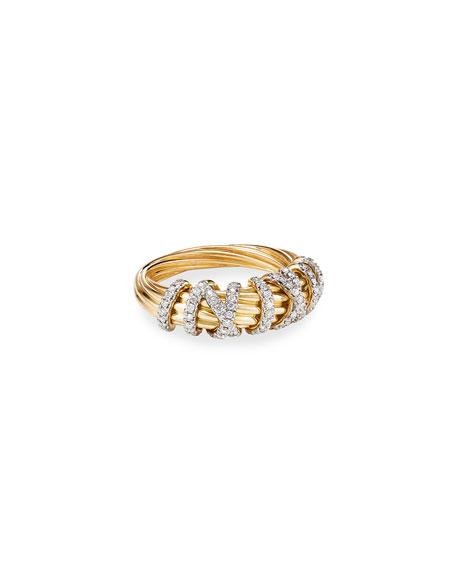David Yurman 18k Helena Diamond 8mm Wrap Ring, Size 8