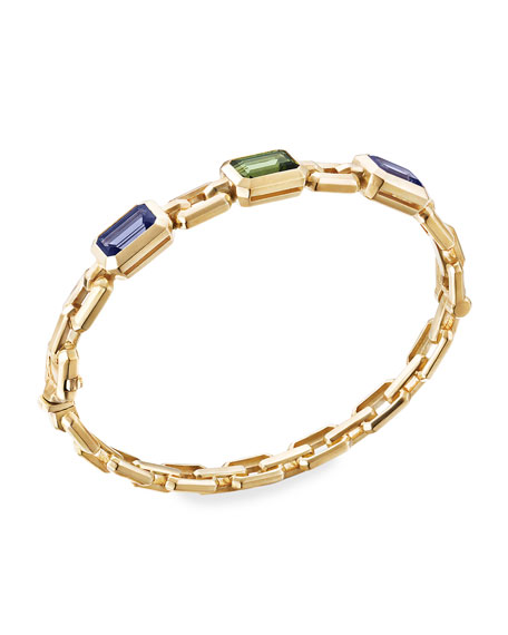 David Yurman Novella 3-Stone Bracelet w/ Iolite & Tourmaline, Size S