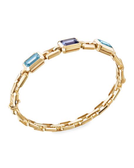 David Yurman Novella 3-Stone Bracelet w/ Topaz & Tanzanite, Size L
