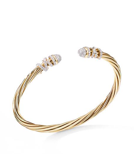 David Yurman Helena 18k Diamond End-Station Bracelet, Size S
