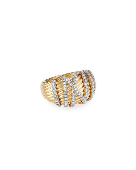 David Yurman Helena 18k Diamond Large Domed Ring, Size 7