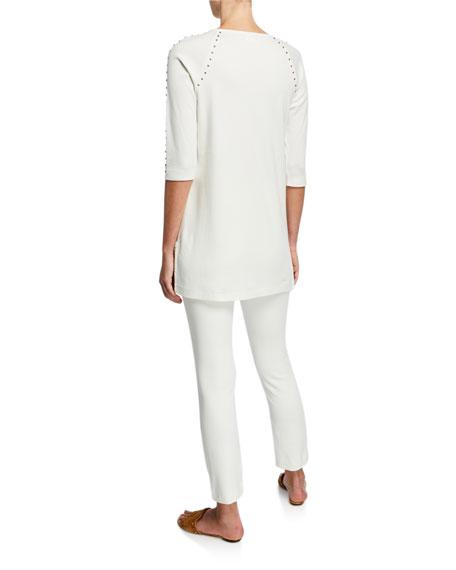 Joan Vass Plus Size Studded 3/4-Sleeve Long Tunic