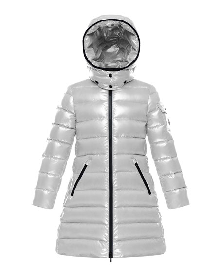 Moncler Moka Laque Mini Me Quilted Hooded Long Coat, Size 4-6
