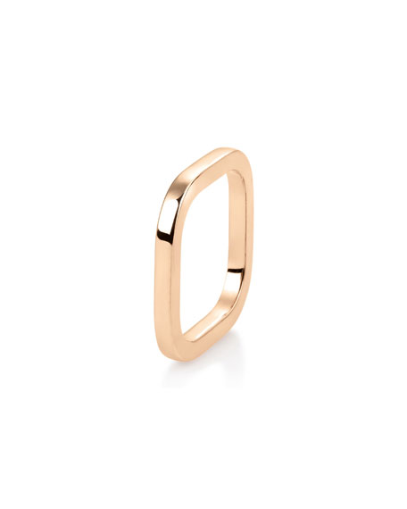 GINETTE NY 18k Rose Gold Square Ring, Size 7