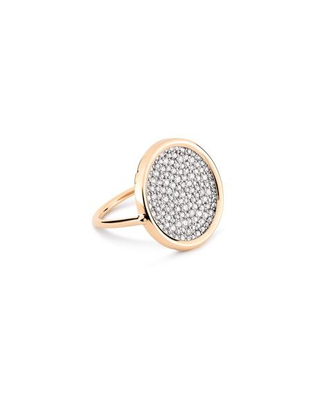 GINETTE NY Ever 18k Rose Gold White Diamond Disc Ring, Size 7