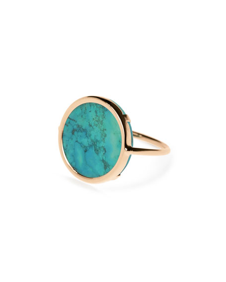 GINETTE NY Fallen Sky 18k Rose Gold Turquoise Disc Ring, Size 6