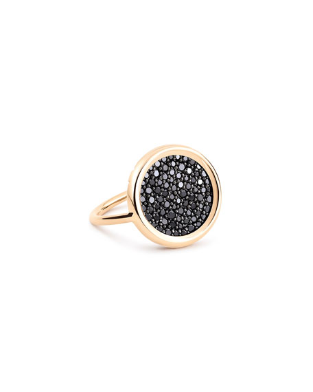 GINETTE NY 18k Rose Gold Baby Black Diamond Disc Ring, Size 7.5