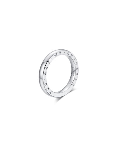 Dirce You Are My Universe 18k White Gold 2.5mm Band Ring  Size 6.25 and Matching Items