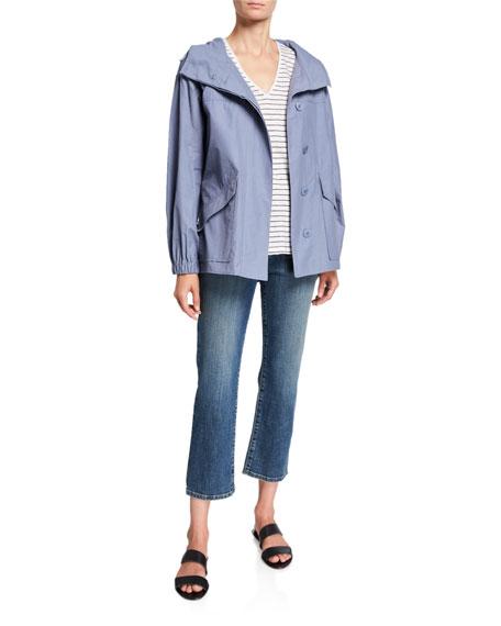 Eileen Fisher Petite Organic Cotton/Nylon Button-Front Hooded Shirttail-Hem Jacket
