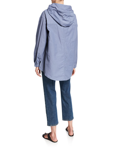 Eileen Fisher Plus Size Organic Cotton/Nylon Button-Front Hooded Shirttail-Hem Jacket
