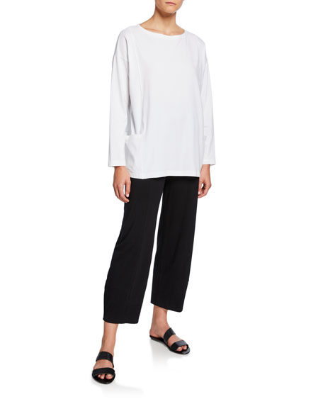 Eileen Fisher Bateau-Neck Long-Sleeve Jersey Pocket Top