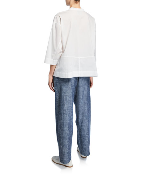 Eileen Fisher Band-Collar 3/4-Sleeve Button-Front Lawn Shirt