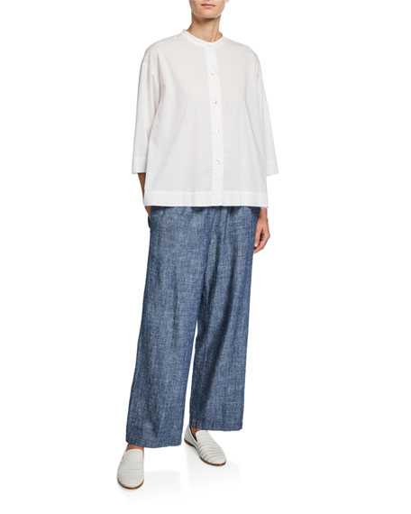 Eileen Fisher Petite Band-Collar 3/4-Sleeve Button-Front Lawn Shirt