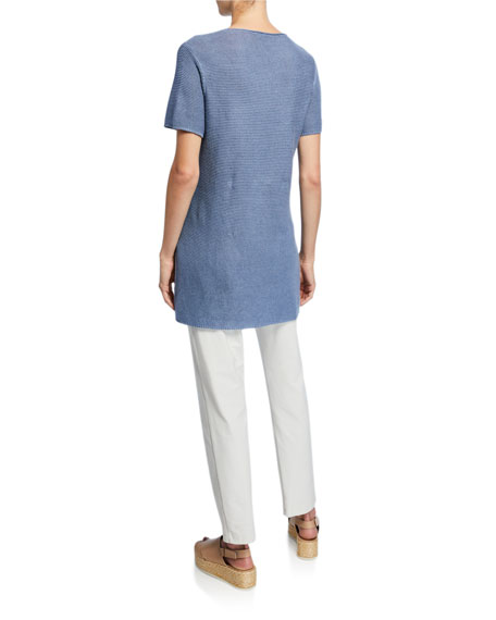 Eileen Fisher Petite Organic Linen/Cotton Short-Sleeve Corded Tunic Sweater