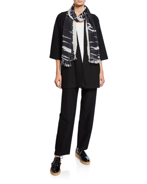 0ba81e002cbf74 Eileen Fisher Plus Size Washed Crepe Kimono Jacket Plus Size Sleeveless  Scoop-Neck Lightweight Jersey