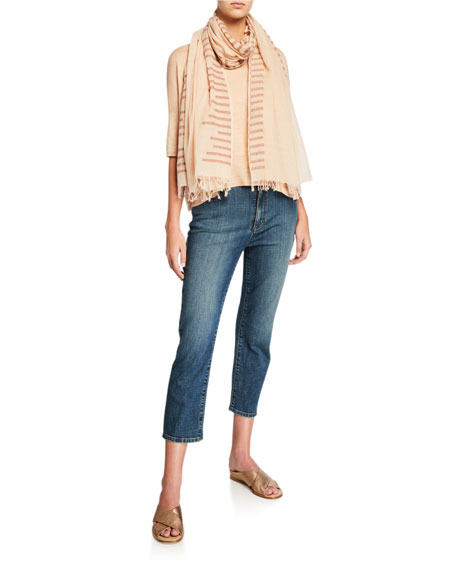 Eileen Fisher Petite Organic Linen Delave Ballet-Neck Elbow-Sleeve Box Top