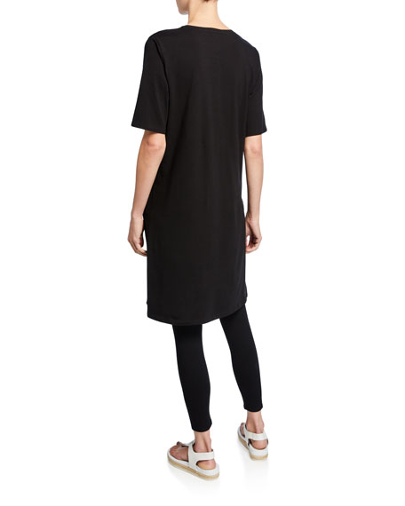Eileen Fisher Petite V-Neck Short-Sleeve Jersey Dress