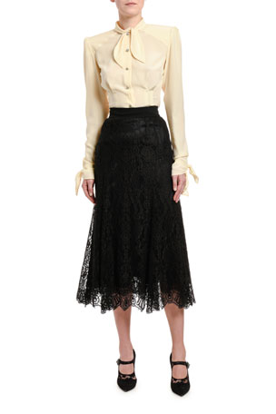 Dolce & Gabbana Long-Sleeve Button-Front Shirt with Padded Shoulders Lace Ankle-Length Skirt