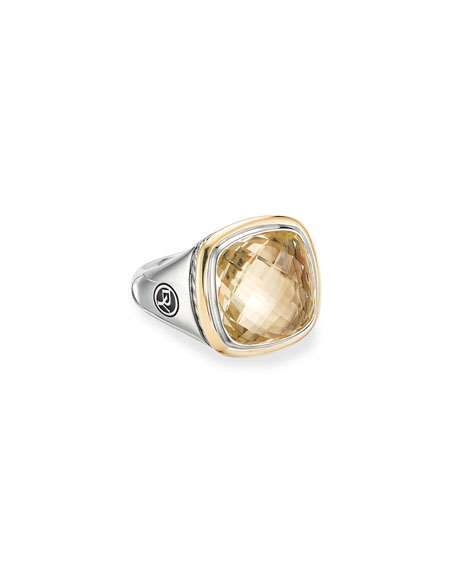David Yurman 14mm Albion Cushion Ring w/ 18k Gold & Citrine, Size 9