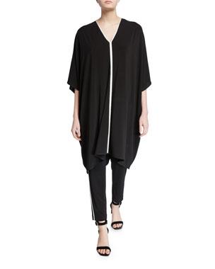 85996749f6ec St. John Collection V-Neck Sleeveless Matte Jersey Kaftan Dress w/ Contrast  Knit