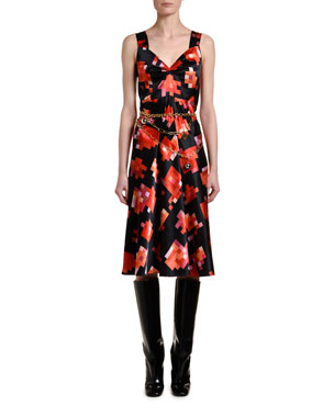 552d5bda70 Marni Pixel-Print Sweetheart-Neck Dress