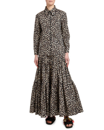 Leopard-Print Cotton Blouse and Matching Items
