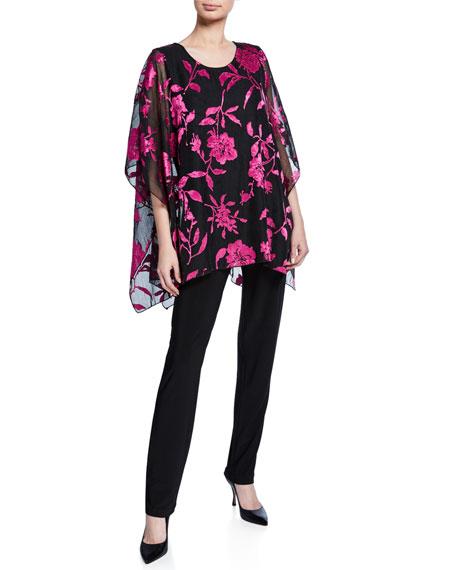 Caroline Rose Sheer Floral Burnout Lined Drape-Sleeve Caftan