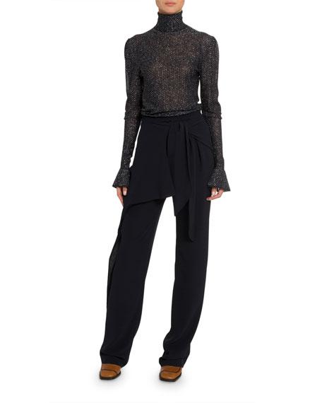 Chloe Shimmer Sheer Turtleneck Sweater