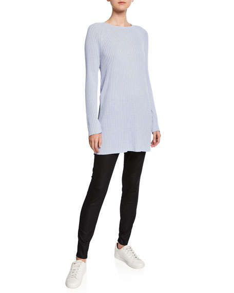Eileen Fisher Ribbed Tunic Sweater with Side Slits