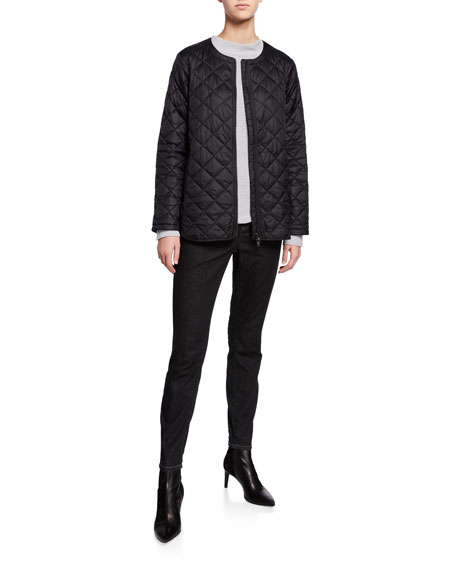 Eileen Fisher Petite Organic Cotton/Silk Funnel-Neck Sweater