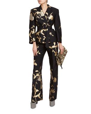 bc481d3d21fc Dries Van Noten Golden Matelasse Double-Breasted Jacket Floral Straight-Leg  Pants