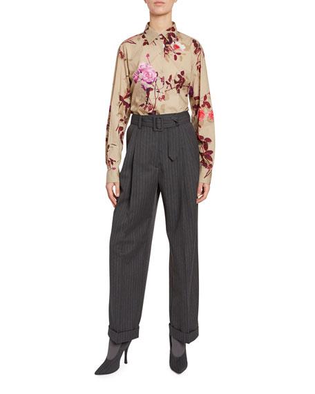 Dries Van Noten Floral Button-Front Long-Sleeve Cotton Top