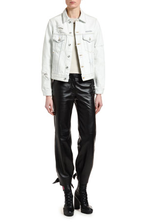 Off-White Classic Distressed Denim Jacket Tiny Jersey Tee Leather High-Waist Bow Pants