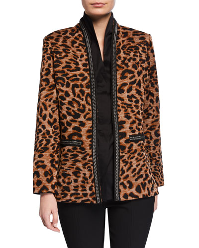 Leopard-Print Jacket with Chain Detail and Matching Items
