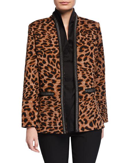 Misook Petite Leopard-Print Jacket with Chain Detail