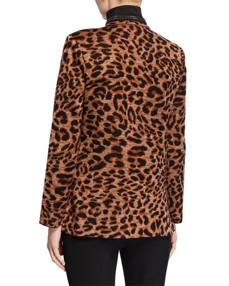 Misook Plus Size Leopard-Print Jacket with Chain Detail