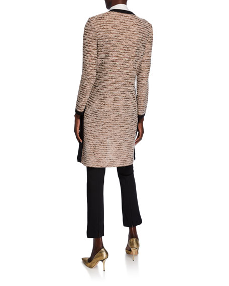 Misook Long Boucle Jacket with Pocket Detail