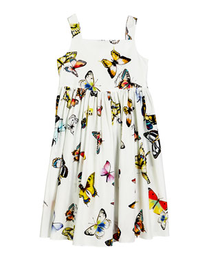 4ee496d1c Dolce & Gabbana Butterfly-Print Poplin Sleeveless Dress, Size 4-6 Butterfly-