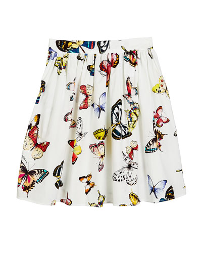 Butterfly-Print Poplin Skirt  Size 4-6  and Matching Items