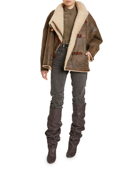 Isabel Marant Abelina Distressed Leather Shearling-Lined Coat