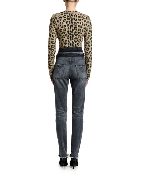 UNRAVEL Leopard-Print Seamed Sweater