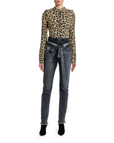 Leopard-Print Seamed Mock-Neck Sweater and Matching Items