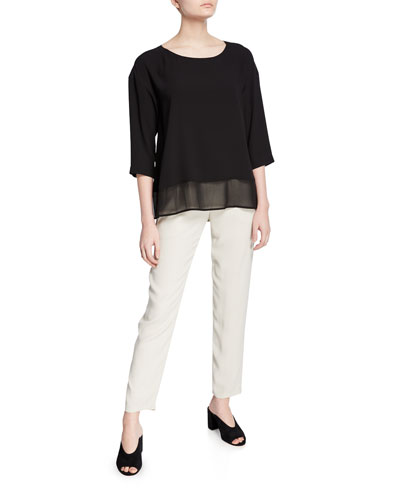 Bateau-Neck Silk Georgette Top and Matching Items
