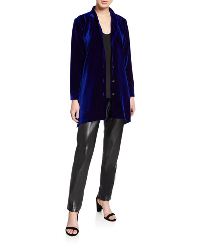 Button-Down Stretch Velvet Swing Shirt with Mandarin Collar and Matching Items