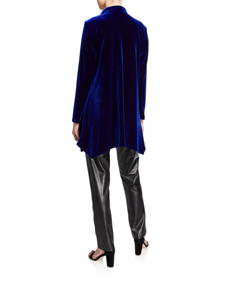 Caroline Rose Plus Size Button-Down Stretch Velvet Swing Shirt with Mandarin Collar