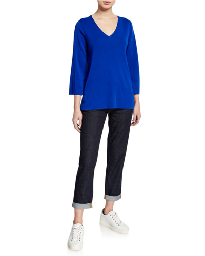 Petite V-Neck 3/4-Sleeve Merino Wool Top and Matching Items